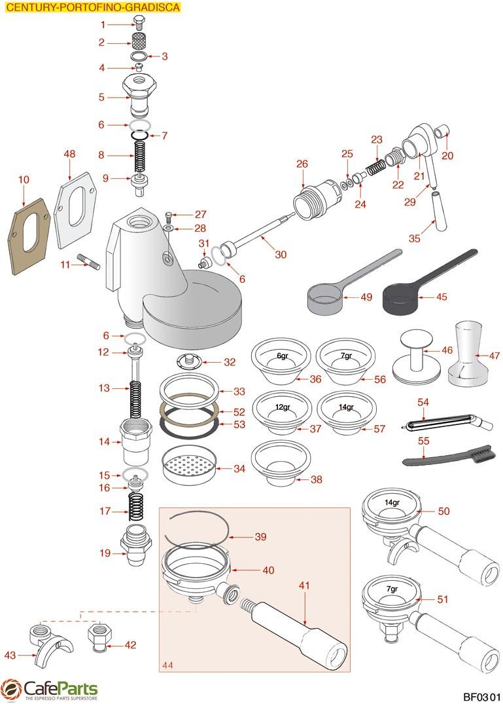 Brasilia Group Century Portofino Gradisca I Espresso Machine Diagram Parts