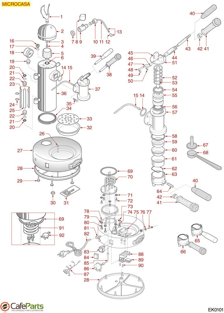 Elektra Coffee Machine Mod Microcasa Diagram Espresso Parts